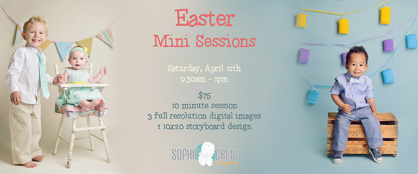Easter Mini Sessions Announced!  San Diego baby and child photographer Sophie Crew announces her 2014 Easter photo shoot dates in the studio.