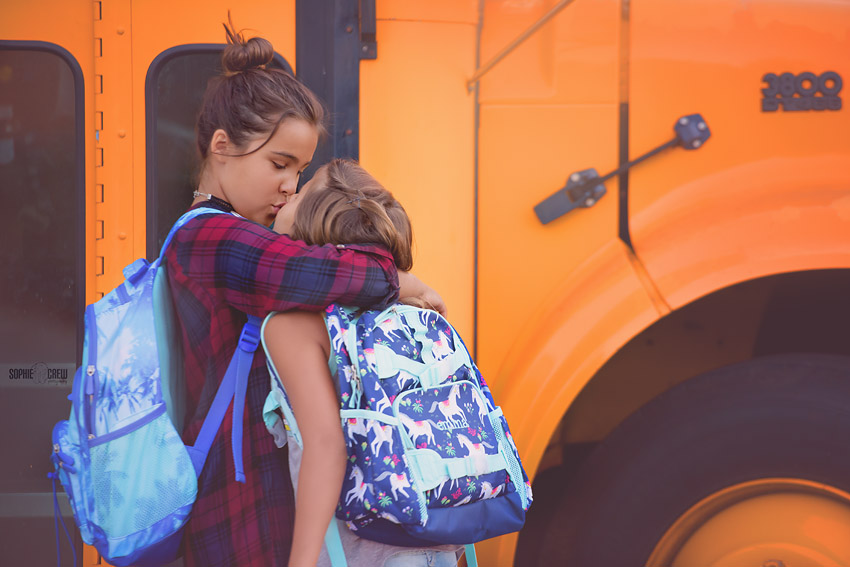 Sisters go to school first day