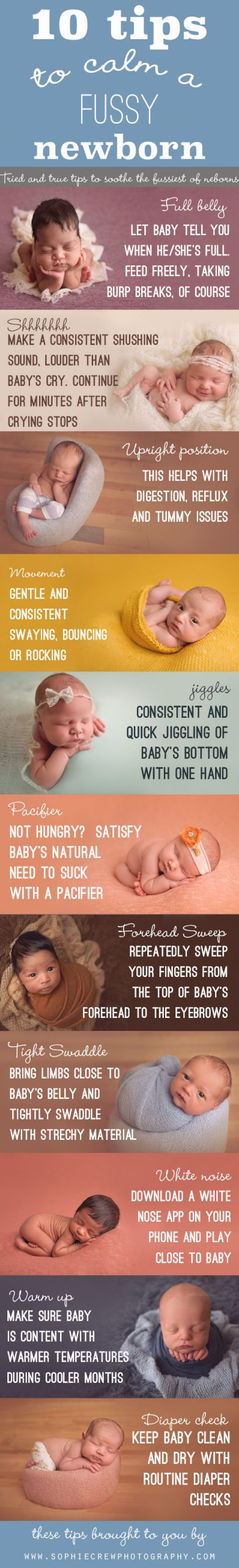 10 Tips to Calm a Fussy Newborn Infographic