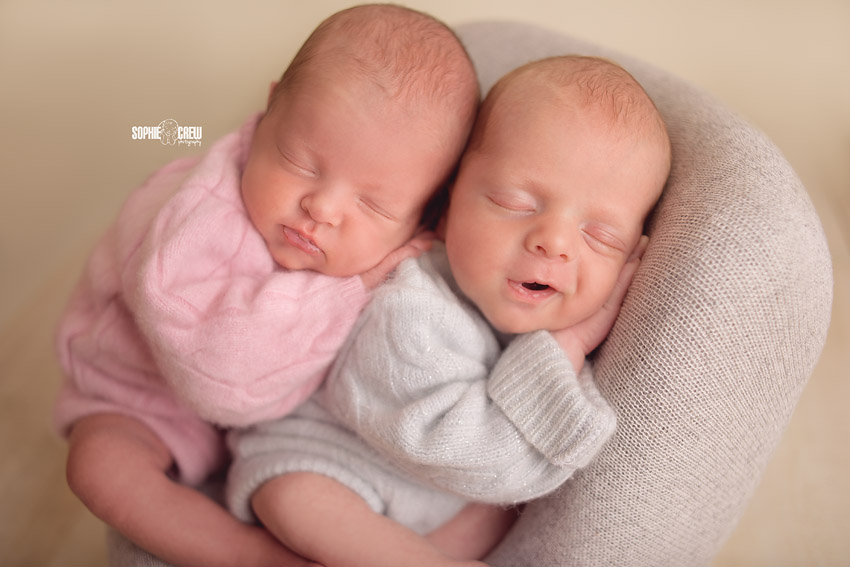 blue and pink newborn twins