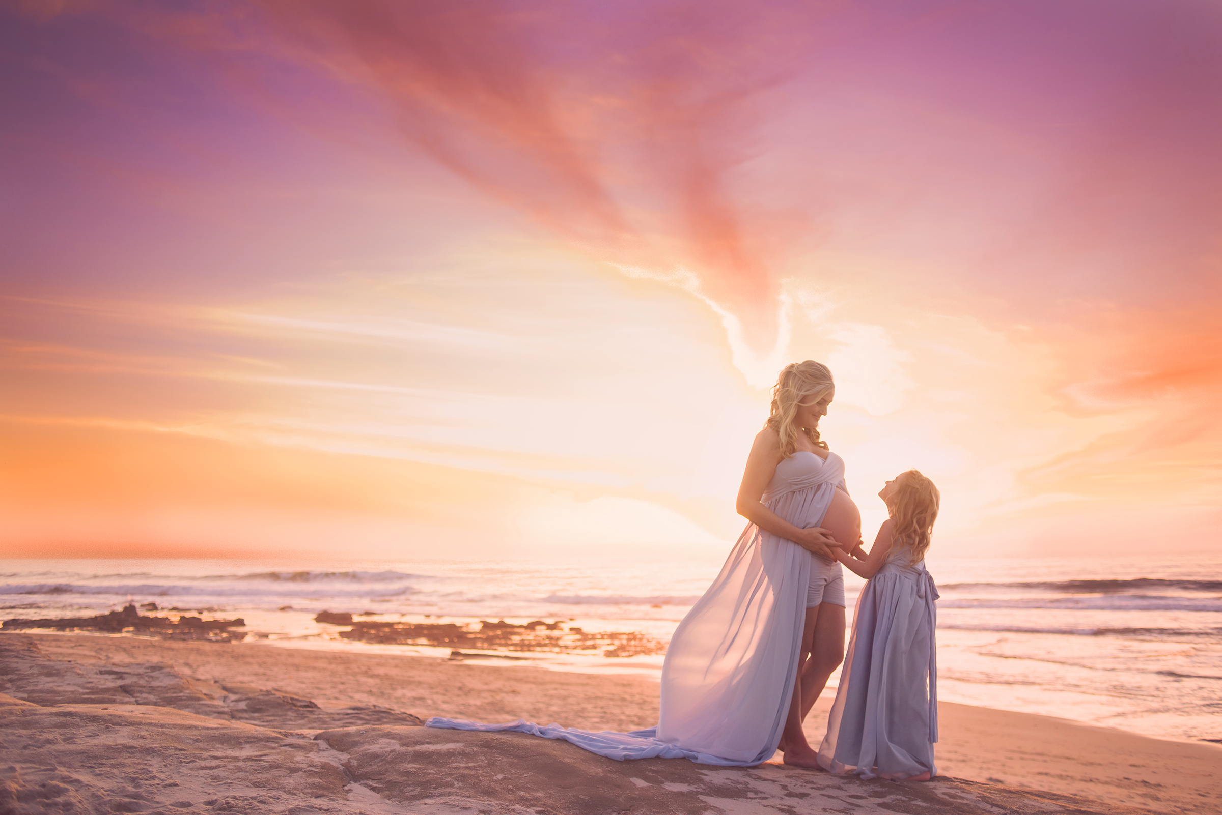 Maternity photography for mother and daughter at local SD beach