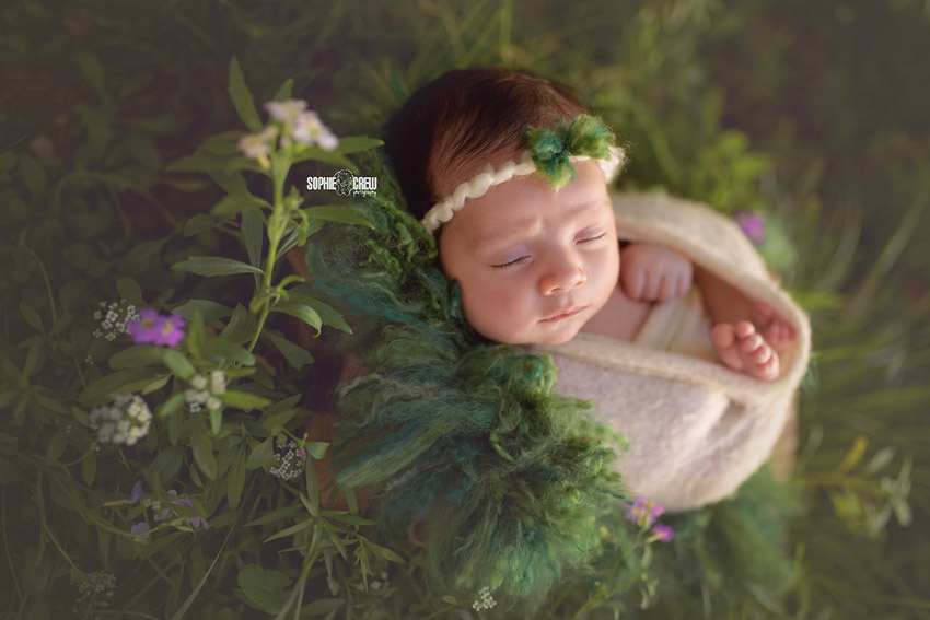 Sleeping beauty newborn photography in magical green garden in San Diego, CA