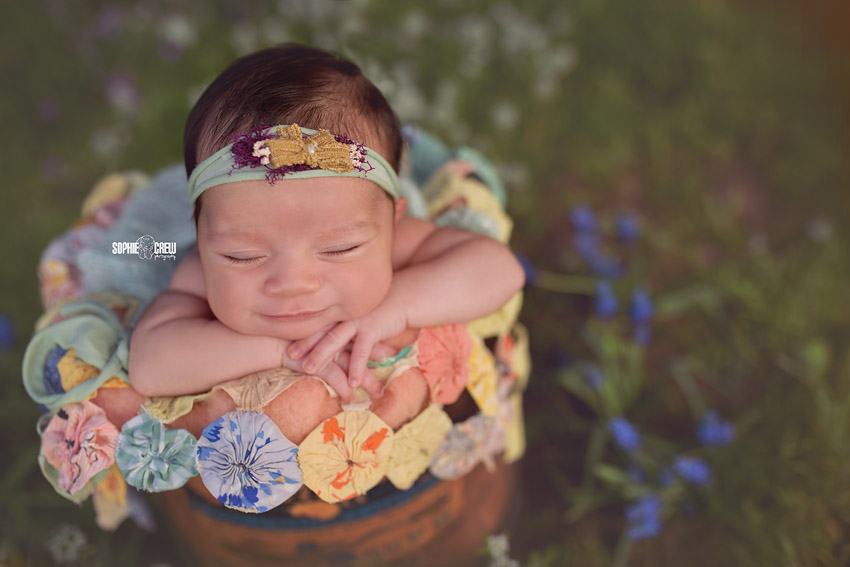 Smiling newborn girl in wooden box in blue flowers outside newborn photography
