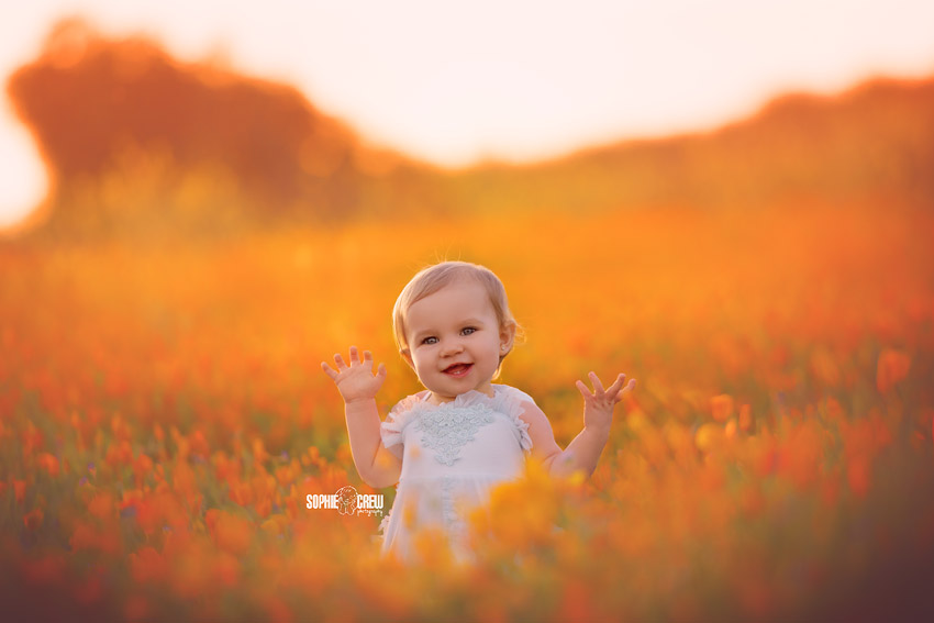 Baby posed in orange flowers for California photography session with Sophie Crew