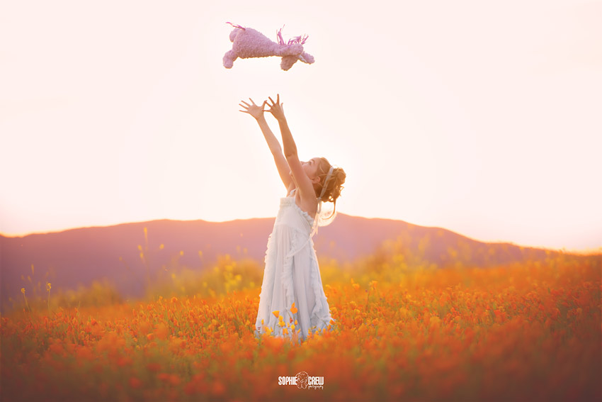 Girl tosses her purple unicorn in the air during her wildflower photography session with baby photographer in San Diego, Sophie Crew Photography