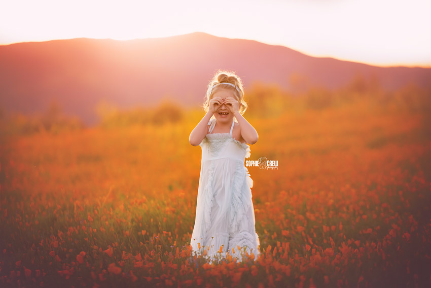 Girl plays peekaboo in field of wildflowers in California