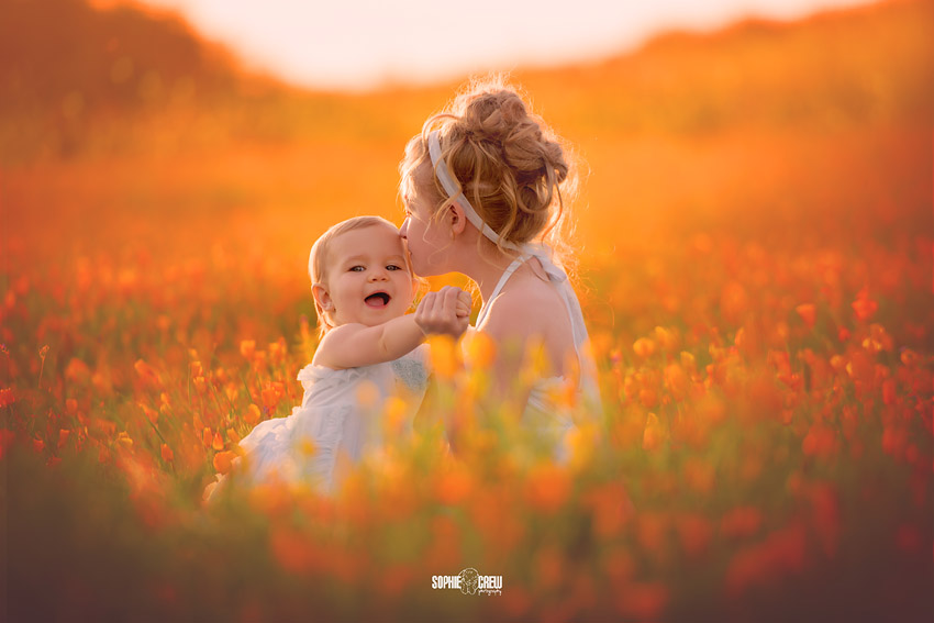 Big sister kisses baby in orange wildflowers poppies California Kids in a Field of Poppies