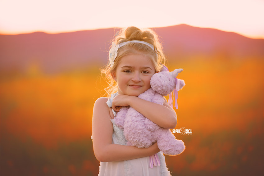 Girl hugs her stuffed unicorn in wildflowers for spring portraits