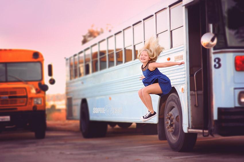 San Diego elementary school portraits vintage school bus san diego