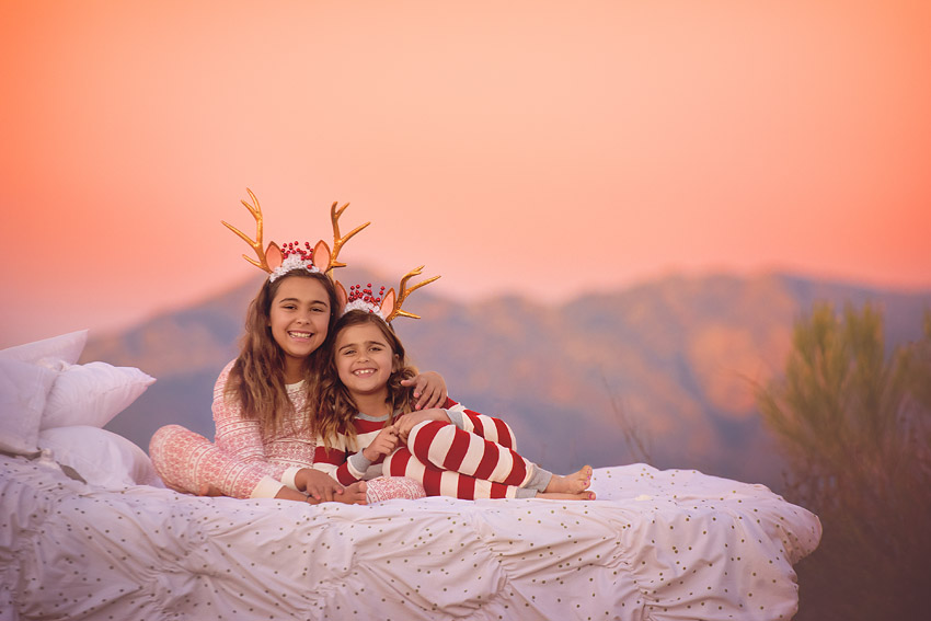 cute kids on bed outdoors nature sunset