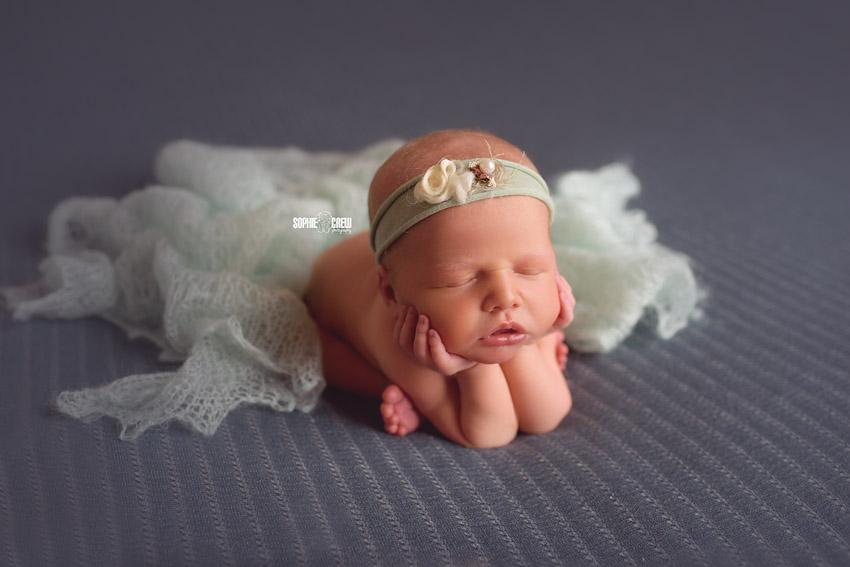 Newborn girl in blue