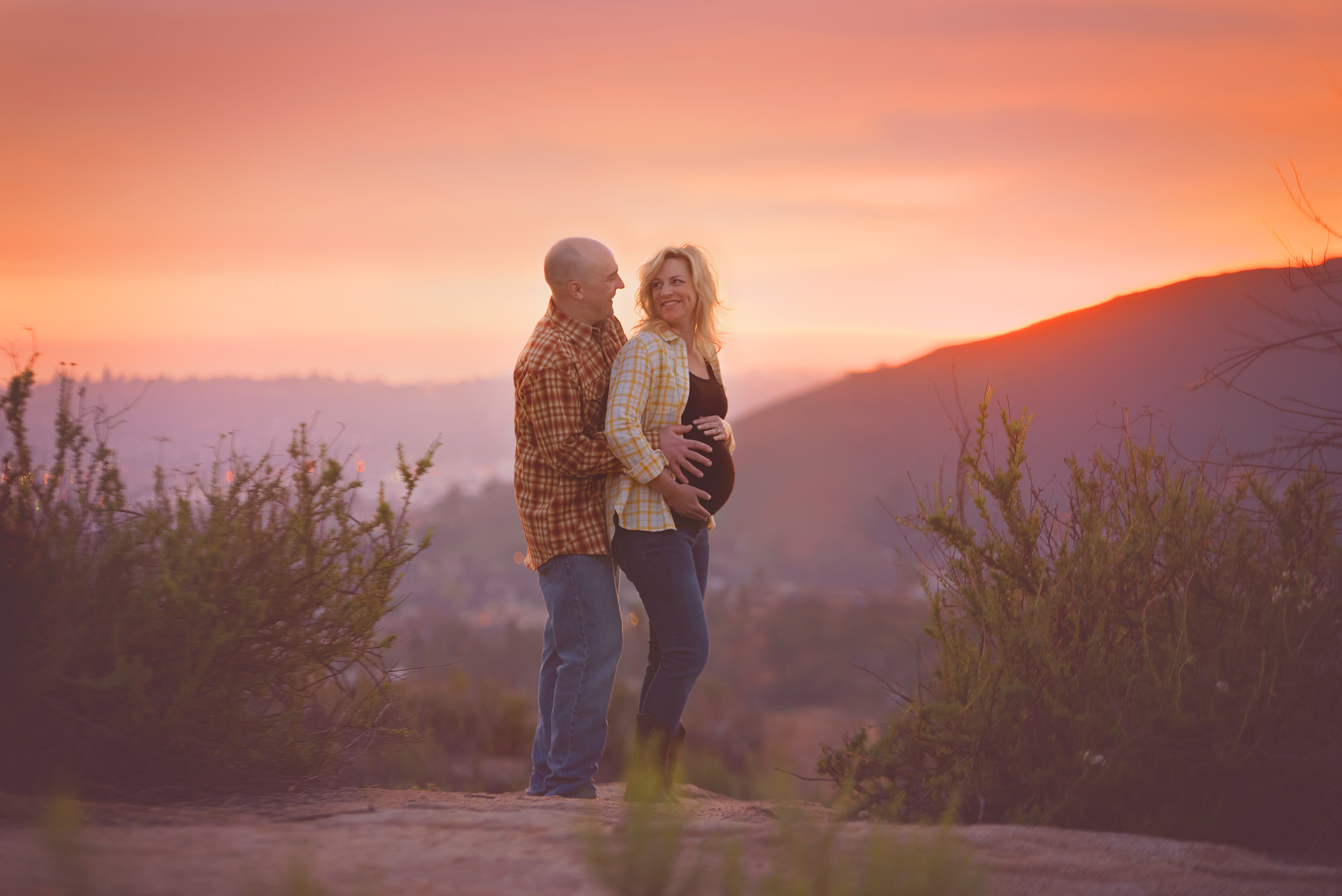 Sunset maternity photography in mountains of San Diego County