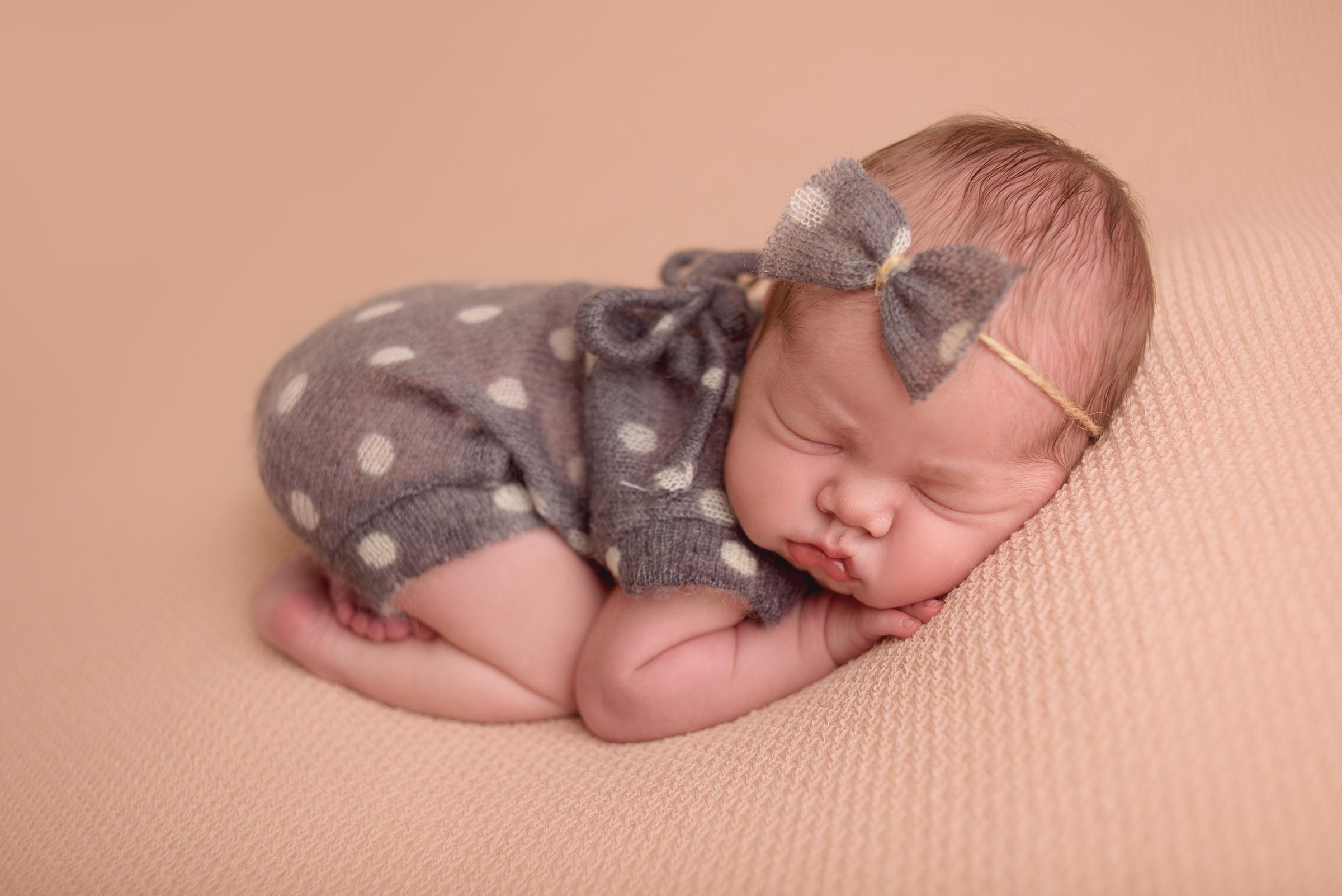 Polka dot newborn romper