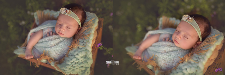 5 week old newborn girl swaddled in aqua knit swaddle in San Diego, CA