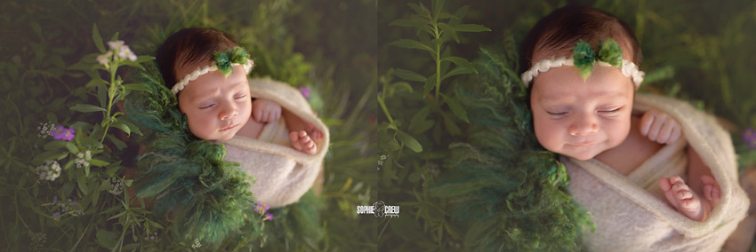 Magical newborn photo of a baby swaddled in a green and flowery garden