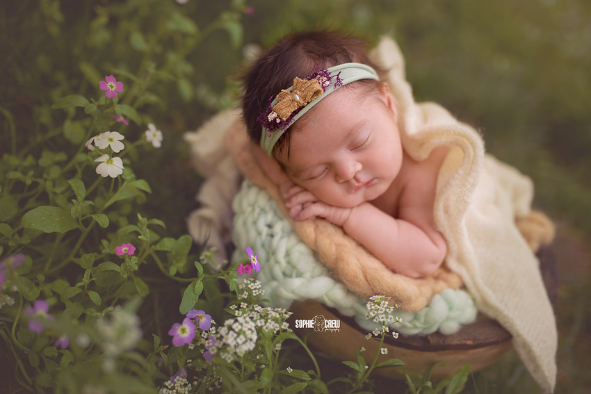 Beautiful newborn girl in wildflowers in San Diego during her infant photography session