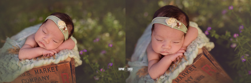 Older newborn girl posed in nature inspired outdoor newborn photography session in San Diego, CA.